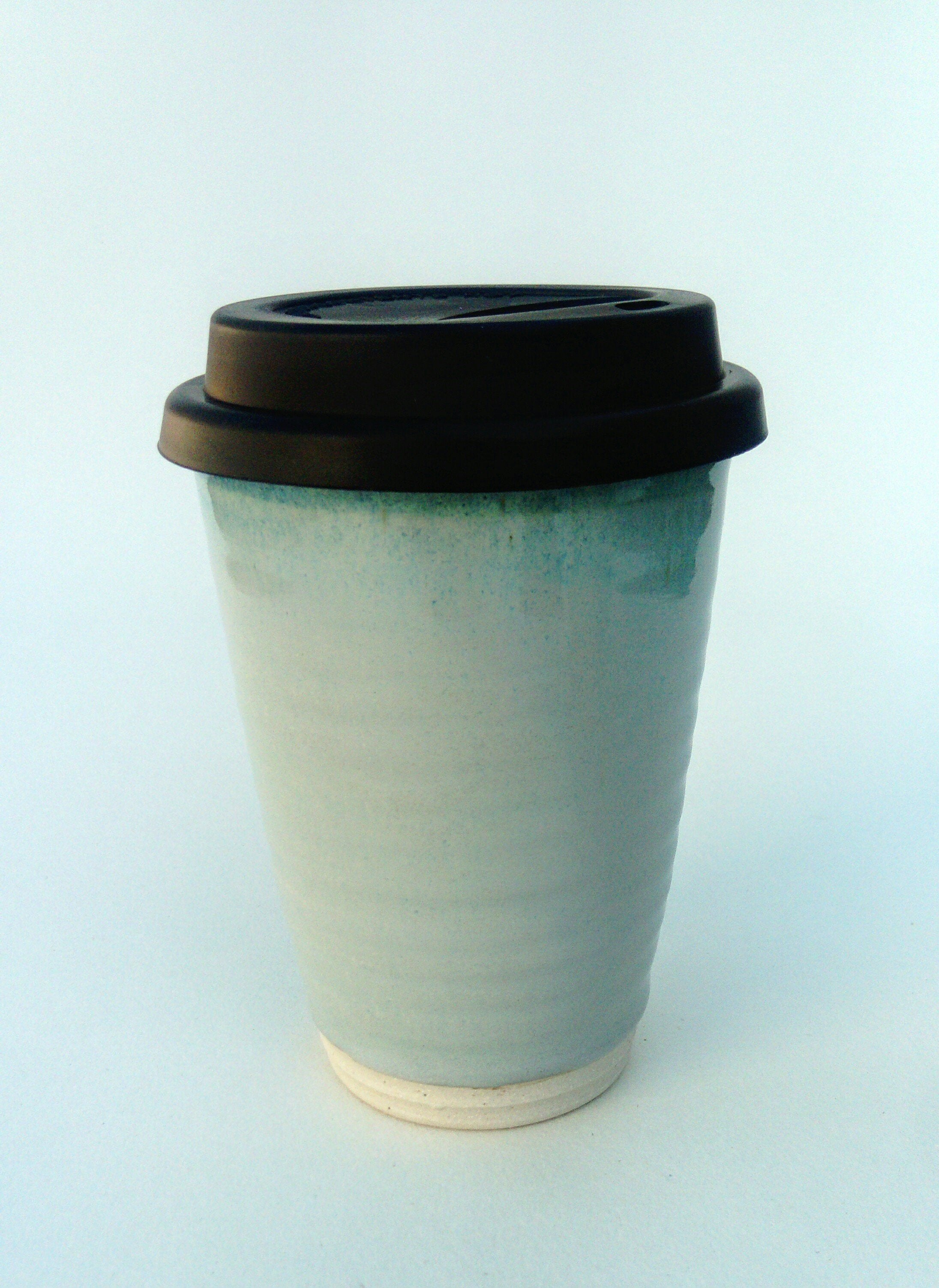 Hand thrown stoneware keep cup, blue aurora.