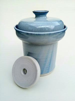 Hand thrown fermentation crock. Blue aurora. Free delivery *