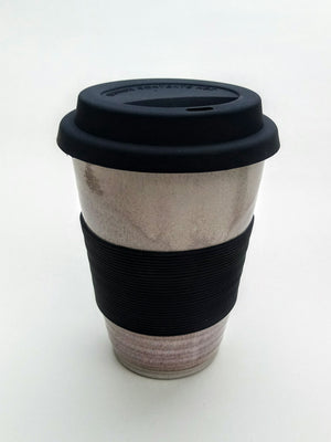 Hand thrown ceramic keep cup, reusable coffee/tea cup. Sunset strand.