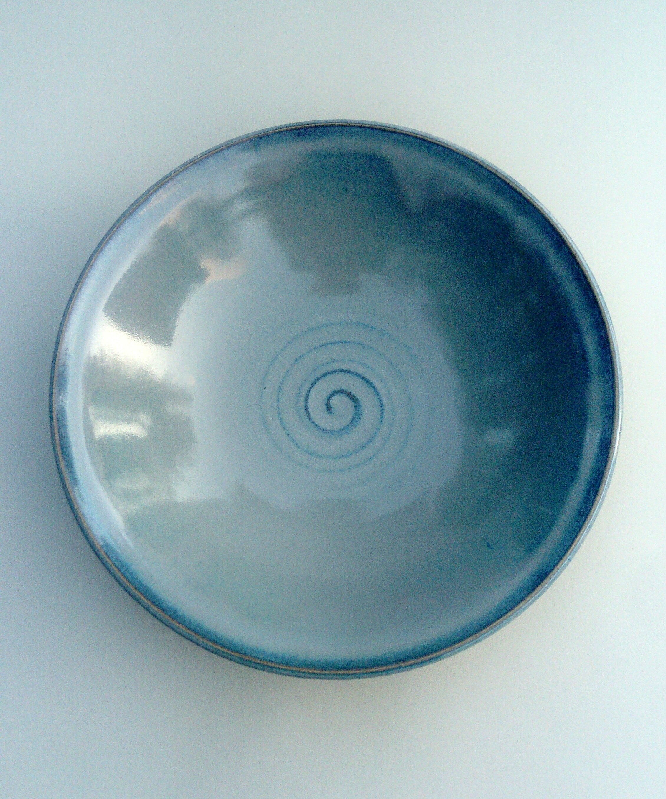 Hand thrown large bowl  Blue ayrora.
