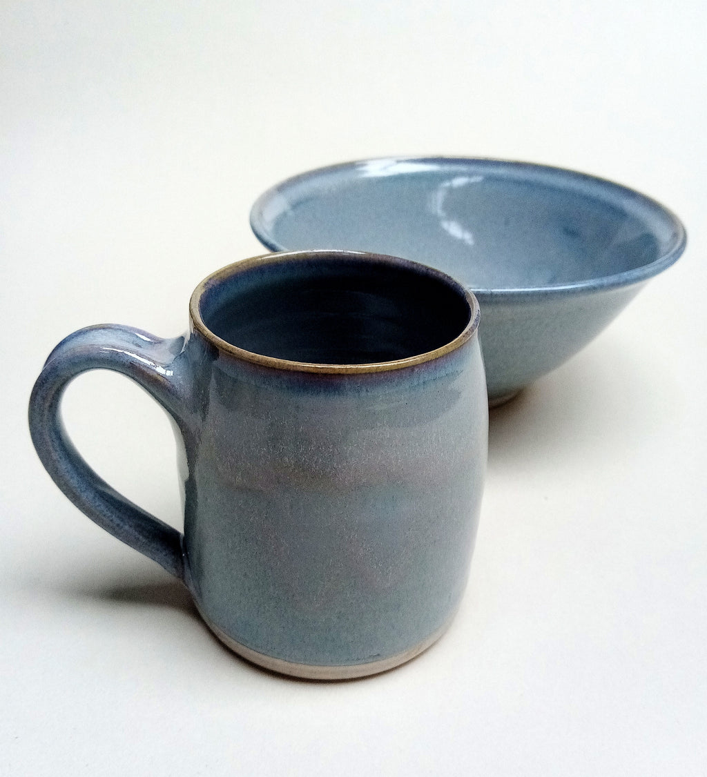 Mug & bowl set. Blue aurora.Free delivery UK & Irl.