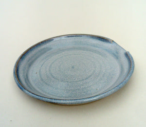 Hand thrown spoon rest. Blue aurora.
