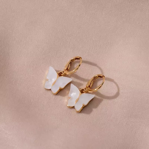 Boucles d'oreilles Butterfly Blanches