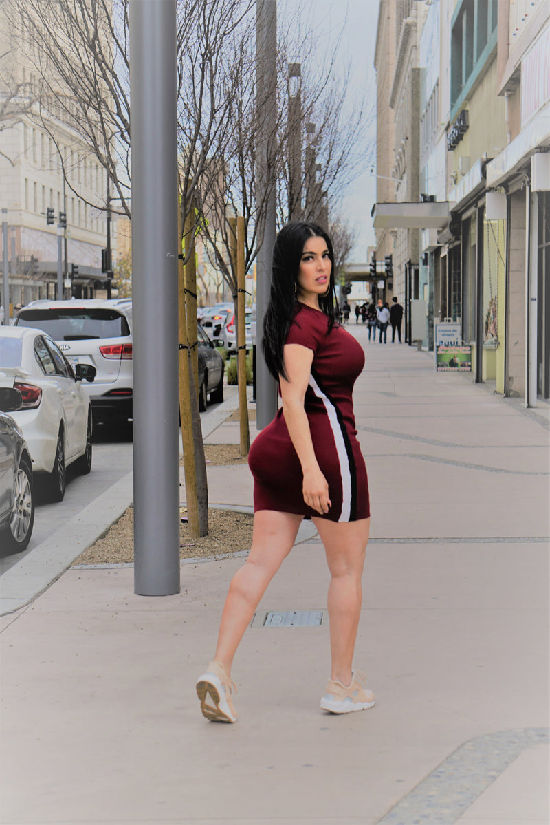 burgandy mini dress