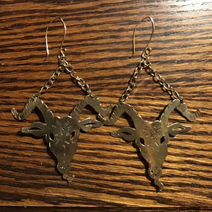 Baphomet Earrings of Solid Brass