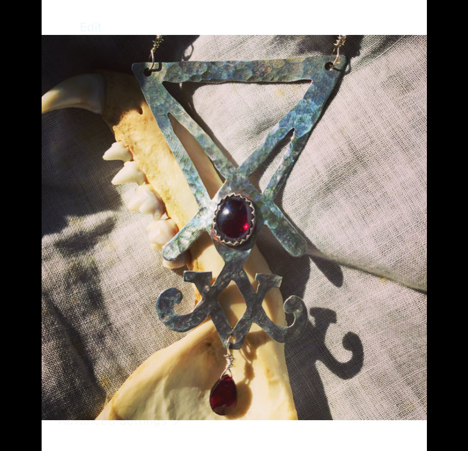 Silver Sigil of Lucifer with garnets