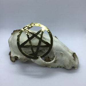 Inverted Brass Pentagram Necklace