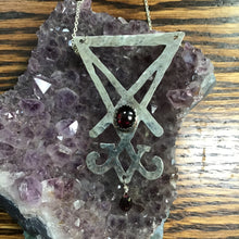 Load image into Gallery viewer, Silver Sigil of Lucifer with garnets