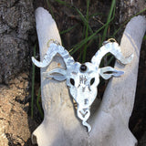 Silver and Onyx Goat Head Necklace