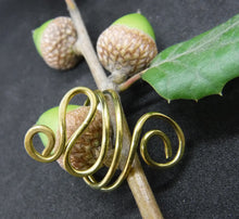 Load image into Gallery viewer, Brass Spiral Adjustable Ring