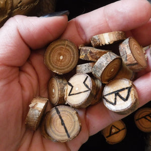 Set of 24 Elder Futhark Runes, pouch, and information sheet