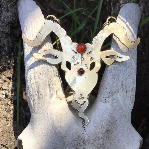Brass Goat Head Necklace with Carnelian and Garnet