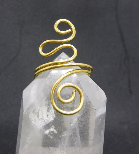 Brass Spiral Adjustable Ring