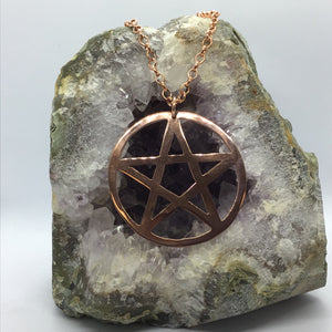 *Made to Order* Two Inch Copper or Brass Pentagram Necklace