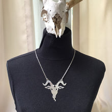 Load image into Gallery viewer, Silver and Onyx Goat Head Necklace