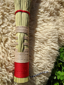 Handmade Altar Whisk with Braided Broomcorn