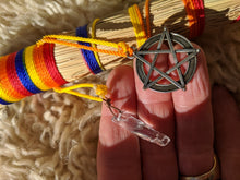Load image into Gallery viewer, Small Rainbow Altar Whisk with Quartz Crystal and Pentacle