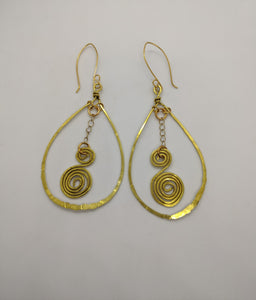 Brass Teardrops with Spirals