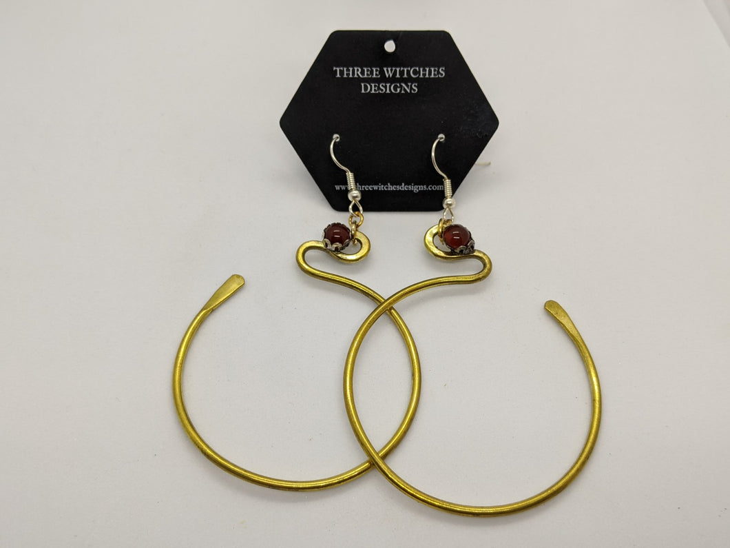 Brass Hoops with Carnelian