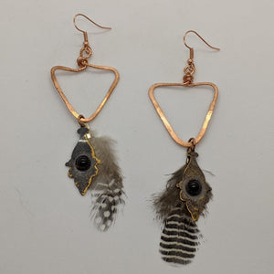 Copper Triangles, Onyx & Feather