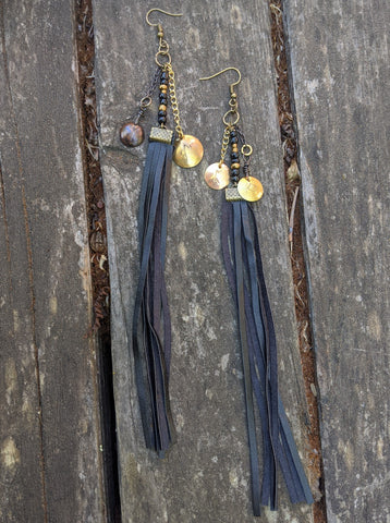 Rune Coin Earrings with Fringe