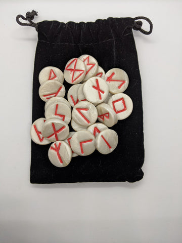 Handmade Runes--White with Red