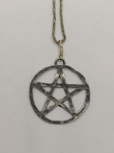 Silver Pentagram, Oxidized & Hammered