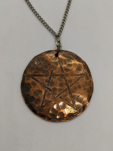 Copper Pentagram on Stainless Steel Chain