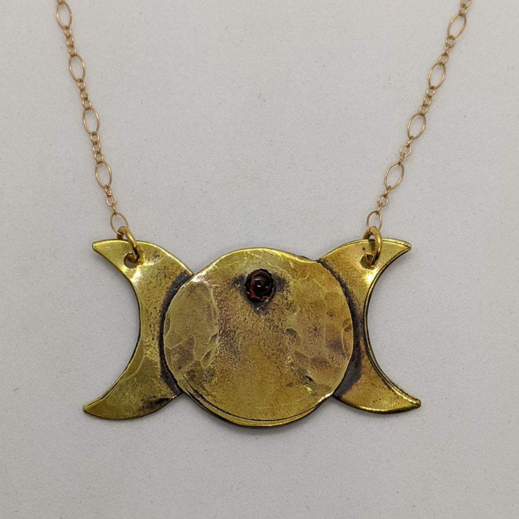 Triple Moon with Garnet