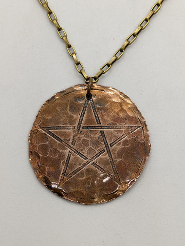 Copper Pentagram on Brass Chain
