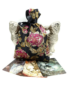 Gold Red and Black Silky Roses Tarot Bag