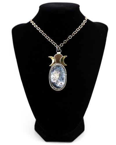Sterling Silver Pendant with Triple Moon of Brass and Bronze with a Large Dendritic Opal