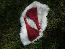 Load image into Gallery viewer, Blood Red Turkey Wing Style Hearth Broom