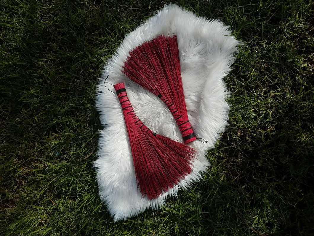 Blood Red Turkey Wing Style Hearth Broom