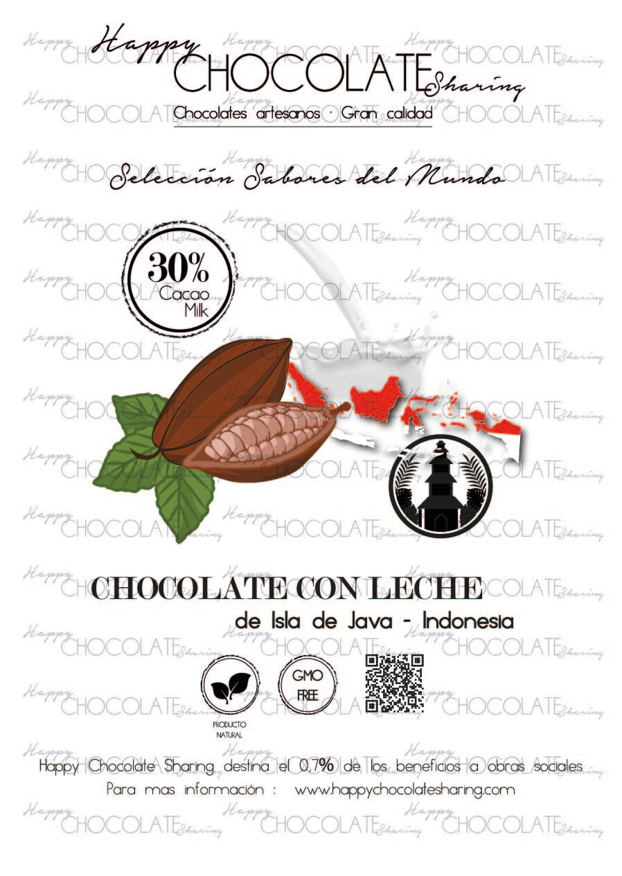 CHOCOLATE CON LECHE - ISLA DE JAVA INDONESIA  30% CACAO