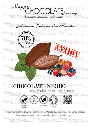 CHOCOLATE NEGRO 70% CACAO FRUTOS ROJOS
