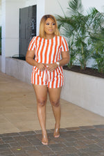 Pin Stripe Orange Shorts Set