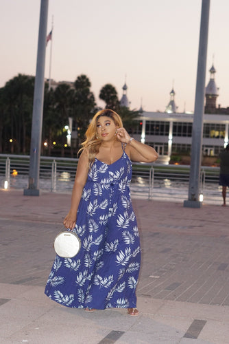 Navy Girl Flower Jumpsuit