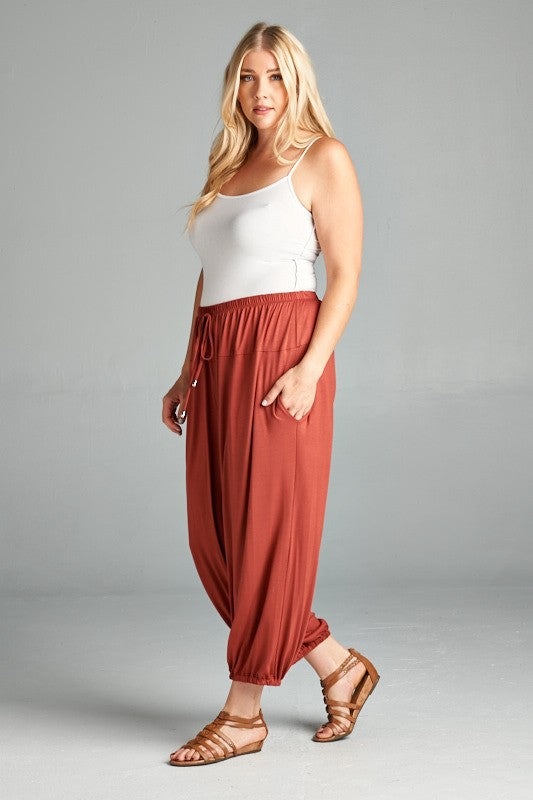 Rayon Relaxed Fit Jogger Pants - Marsala - Emerald Curve