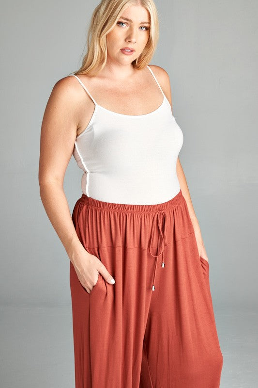 Rayon Relaxed Fit Jogger Pants - Marsala - Curvy Clothes Australia - Afterpay Laybuy & Humm Online