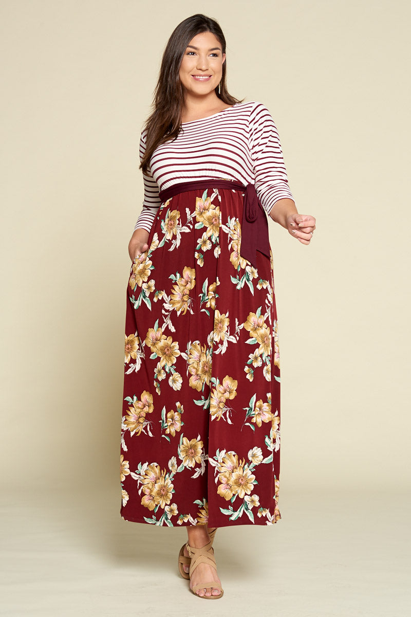 Floral Printed Maxi Dress with Striped Bodice - Burgundy - Curvy Clothes Australia - Afterpay Laybuy & Humm Online