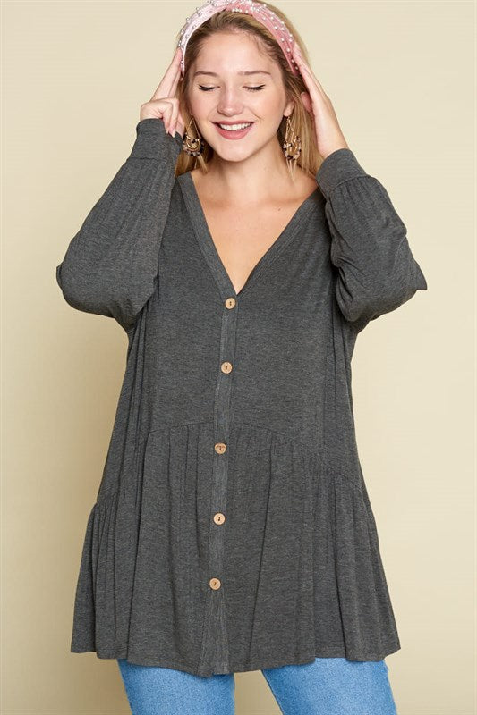 Heavy Rayon Casual Tunic Top - Charcoal - Curvy Clothes Australia - Afterpay Laybuy & Humm Online