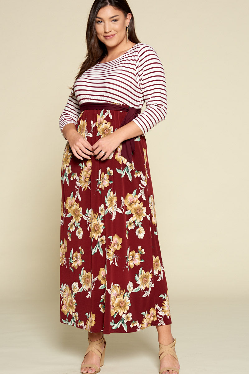 Floral Printed Maxi Dress with Striped Bodice - Burgundy - Emerald Curve