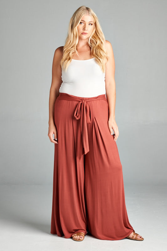 zz. Rayon High Waisted Palazzo Pants - Marsala - Curvy Clothes Australia - Afterpay Laybuy & Humm Online