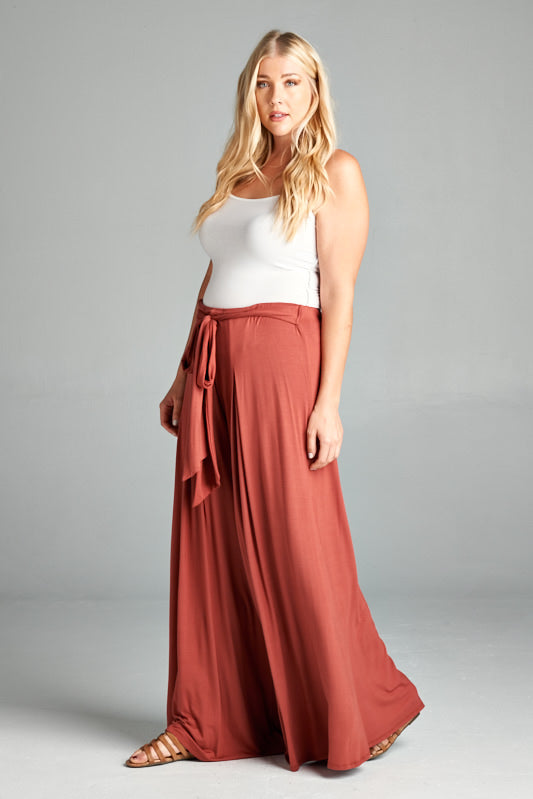 Rayon High Waisted Palazzo Pants - Marsala - Curvy Clothes Australia - Afterpay Laybuy & Humm Online