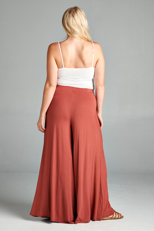Rayon High Waisted Palazzo Pants - Marsala - Emerald Curve