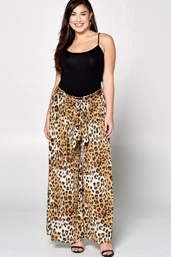 Animal Printed Palazzo Wide Pants - Curvy Clothes Australia - Afterpay Laybuy & Humm Online