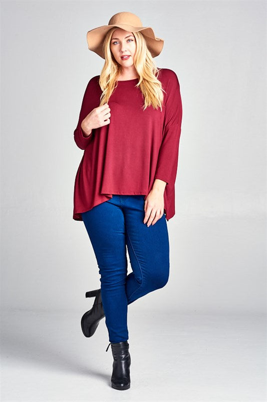 Rayon Batwing Tunic Top - Red - Emerald Curve