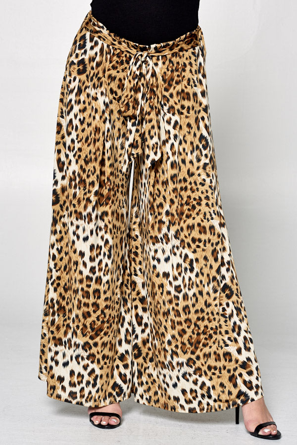Animal Printed Palazzo Wide Pants - Emerald Curve
