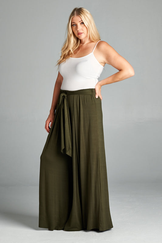 Rayon High Waisted Palazzo Pants - Olive - Emerald Curve